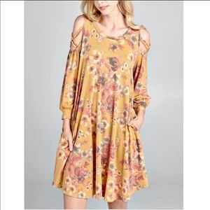 Dresses & Skirts - Floral Swing Dress in mustard